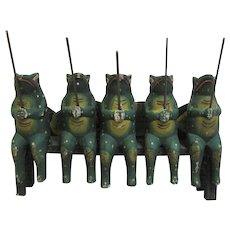 Vintage Folk Art Painted Frogs On A Bench Fishing