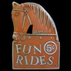 Vintage Amusement Carnival Pot Metal Rides Sign