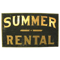 Antique Painted Wooden Sign Summer Rental
