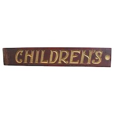 Vintage Carved and Painted Children's Sign From A Sears Department Store