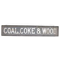 Antique Wood Smalts or Sand Painted Trade Sign Coal, Coke & Wood