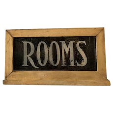 Vintage Reverse Glass Painted Rooms Sign Wood Frame Two Sided
