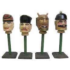 Antique Carved Painted Wooden Puppet Heads
