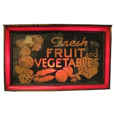 Vintage Vegetables Fruit Lighted Tin Sign