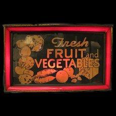 Vintage Vegetables Fruit Lighted Tin Sign
