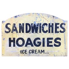 Vintage Painted Tin Sandwiches Hoagies Ice Cream Sign