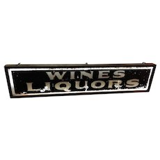 Antique Reverse Glass Painted Wines And Liquors Trade Sign