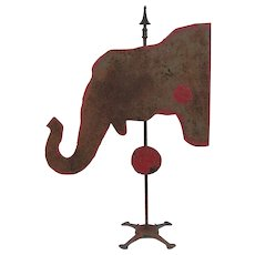 Vintage Folk Art Sheet Iron Shooting Target Elephant