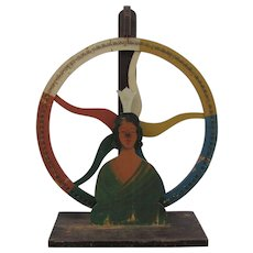 Vintage Folk Art Carnival Game Wheel Of Chance