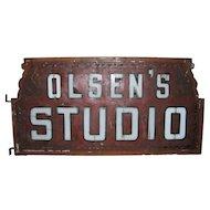 Antique Milk Glass Lighted Sign Advertising Olsen's Studio