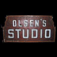 Antique Milk Glass Lighted Sign Advertising Olsen's Studio