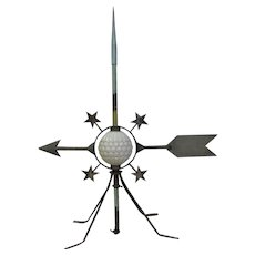 Antique Lightning Rod Display With Glass Ball Arrow Stars