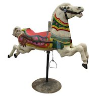 Antique Carved Painted Wooden Carousel Horse CW Parker