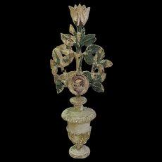 Antique Folk Art Carved Wood Floral Display