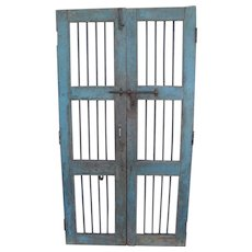 Antique Pair Painted Wood Horse Stall Doors Iron Hardware and Bars