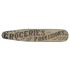 Antique Folk Art Painted Wooden Groceries Sign Lebanon Pennsylvania