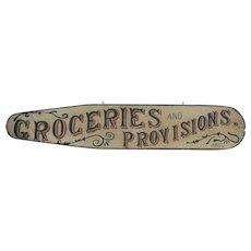 Antique Folk Art Painted Wooden Groceries Sign Lebanon Pennsylvania