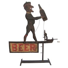 Vintage Folk Art Beer Whirligig Advertising