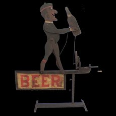 Vintage Folk Art Beer Whirligig Advertising