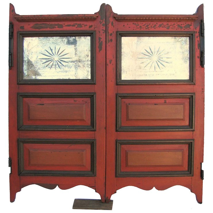 Antique Painted Saloon Doors With Cut Glass Mirror Inserts - Antique Painted Saloon Doors With Cut Glass Mirror Inserts : Finish