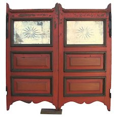 Antique Painted Saloon Doors With Cut Glass Mirror Inserts
