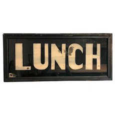 Vintage Reverse Glass Painted Double Sided Lunch Wooden Sign Box