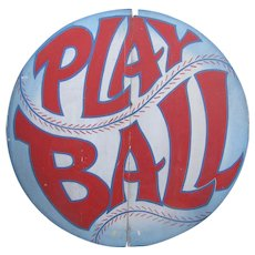 Vintage Painted Wooden Baseball Sign Play Ball
