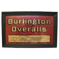 Vintage Lighted Reverse Glass Painted Burlington Overalls Jeans Sign