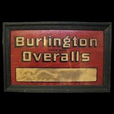 Vintage Lighted Reverse Glass Painted Burlington Overalls Jeans Sign