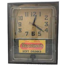 Vintage Neon Clock Sign All Original Reading's Soft Drinks