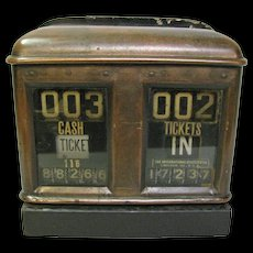 Antique Brass Trolley Ticket Fare Counter Working