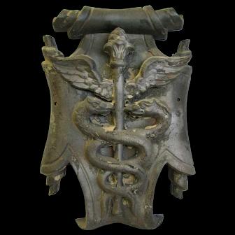 Antique Cast Iron Medical Symbol Caduceus