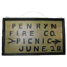 Antique Hand Painted Wooden Picnic Sign Penryn Fire Co.