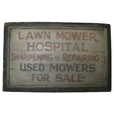 Antique Painted Wooden Sign Lawn Mower Services