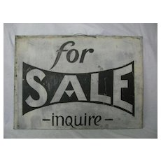 Vintage Painted Tin For Sale Sign