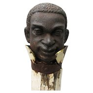 Antique Black Americana Cast Iron Hitching Post Head Topper With Iron Collar and Original Post