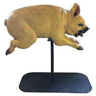 Antique Wood Child's Carousel Ride Pig