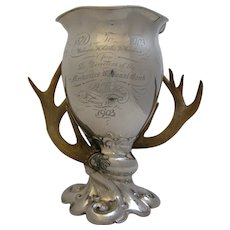 Antique Sterling Silver Philadelphia Trophy Presentation Cup Antler Handles 1903 J. E. Caldwell & Co.