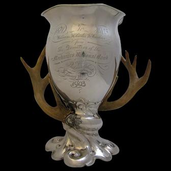Antique Sterling Silver Philadelphia Trophy Presentation Cup Antler Handles 1903 J. E. Caldwell & Co.