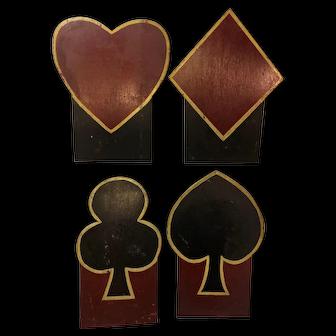 Vintage Painted Wooden Large Card Suit Displays