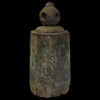 Antique Folk Art Horse Weight Wood Iron