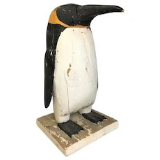 Antique Wooden Carved and Painted Penguin