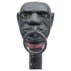 Antique Cast Iron Hitching Post Black Servant