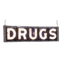 Antique Porcelain Drugs Lighted Two Sided Sign