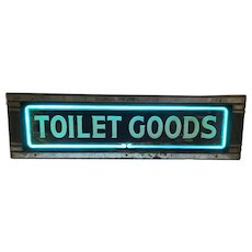 Vintage Neon Art Deco Toilet Goods Sign