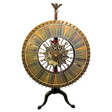 Antique H C Evans Carnival Game Wheel of Chance Table Top Gambling Wheel