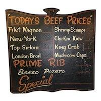Vintage Butcher Market Diner Painted Wooden Sign