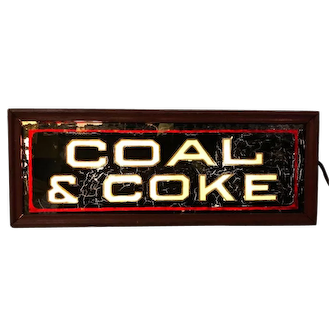 Vintage Lighted Coal & Coke Reverse Glass Painted Sign