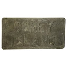 Vintage Coney Island Pressed Sheet Metal Road Sign