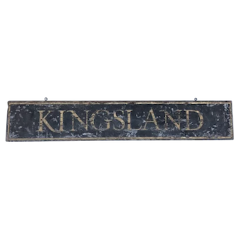 Antique Railroad Station Sign Schmaltz and Gold Gilt Painted Kingsland New Jersey